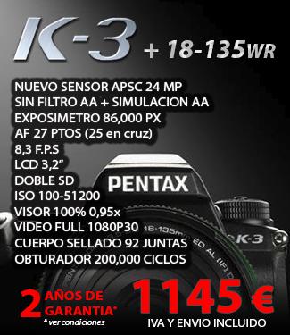 Oferta Precio Pentax K-3 + 18-135 WR