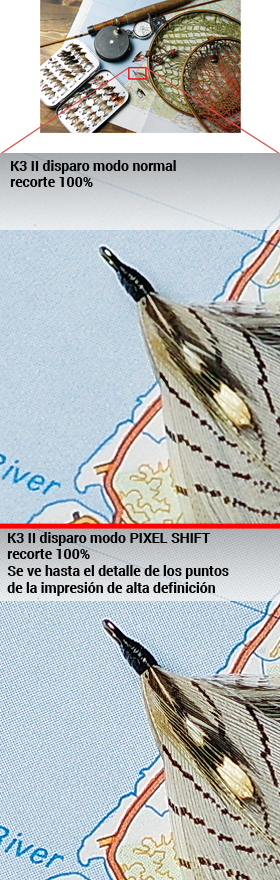 Ejemplo K3 II de diferencia sin/con PIXEL SHIFT RESOLUTION
